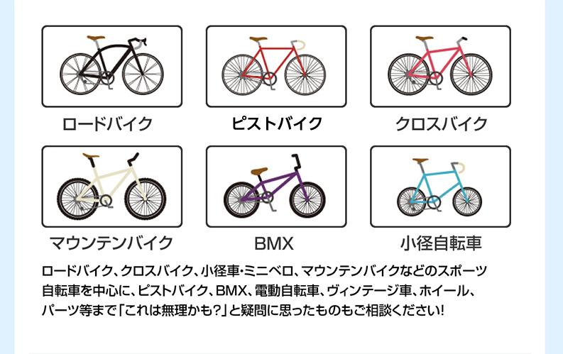 ロードバイク、ピストバイク、クロスバイク、マウンテンバイク、BMX、小径自転車